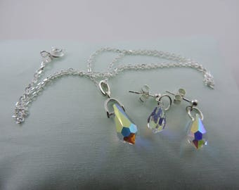 Swarovski Crystal AB Pendant and Earrings Set