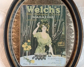 Vintage Welch's metal tray - metal serving tray - reproduction advertising 1914