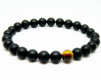 Mens bracelet Matte Black onyx and tiger eye bracelet Black onyx jewelry man Stretch bead bracelet gift for men bracelet for boyfriend gift