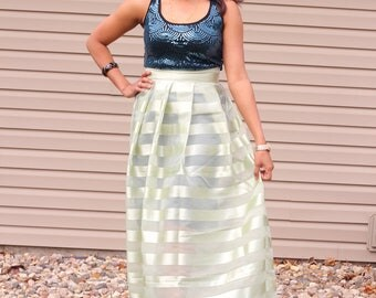 pleated long skirt, long circle skirt,  shiny stripes fabric ,size PS 4-7 US  party wear, prom night