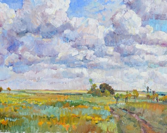 Original painting, Landscape with sky and clouds,landscape painting, impressionist painting, landscape with clouds, landscape with blue sky