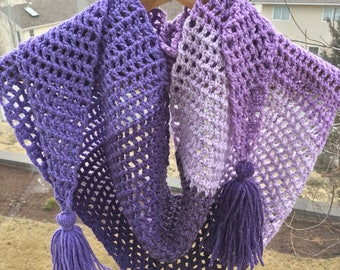 READY TO SHIP Light Triangle Crochet Scarf With Tassels
