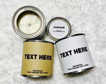 Personalized candles // Wholesale // Custom candles // Text here // Soy candles // Tin Candles // Handmade // Gift