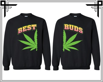 Best Buds Couple Crewneck Best Buds Sweater Crewneck Sweatshirt Sweater Couple Matching Sweatshirt Costume Halloween BFf Sweatshirt Bff Tees