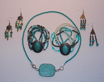 Country Western Southwest Native American Jewelry Necklace Bracelets Earrings Key chains Turquoise-Priority Shipping Worldwide!!