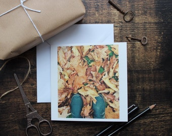 Autumn leaves and Wellington boots card, art card, birthday card, occasion card, blank card, frameable print, thank you card