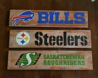Sports Team Distressed Wood Sign - NFL/NHL/NBA