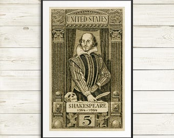 Shakespeare posters, William Shakespeare, Shakespeare prints, Shakespeare art, drama student gifts, theatre posters, actor gifts, actress