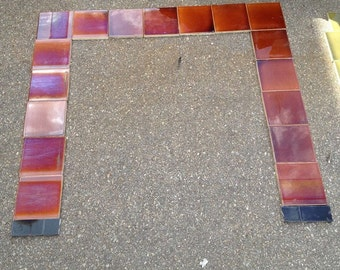 Antique American Encaustic Tile Fireplace Surround, Red