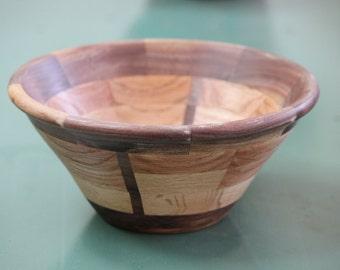 Oak and Walnut Handturned Segmented Bowl