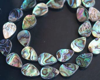 Natural Abalone shell beads,10x14 mm teardrop beads, 15 inches  strand