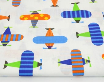 Cotton Fabric, Printed fabric, Quilting Fabric,Plane Fabric  Airplane Fabric , Fabrics by the Yard-Half Yard