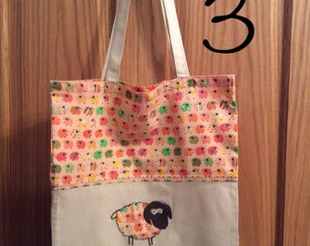 Long handled tote bag with sheep appliqué, Mother's Day gift, knitting gift idea, shopping bag, book bag, project bag, WIP bag, crochet bag.