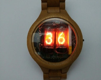 Unique Nixie watch in wood casing:
