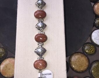 Silver, sun sitara and pearl bracelet