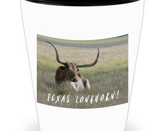 TEXAS Longhorn Steer Resting In Tall Grass on Cool Ceramic Shot Glass Makes a Perfect Gift for The Texan in Your Life!