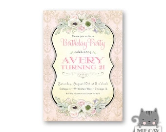 Girl's 2nd Birthday invitation / Vintage Invitation / Elegant Invitation / Floral Invitation / Kid's Birthday / Party Invite / Any Age / 92a