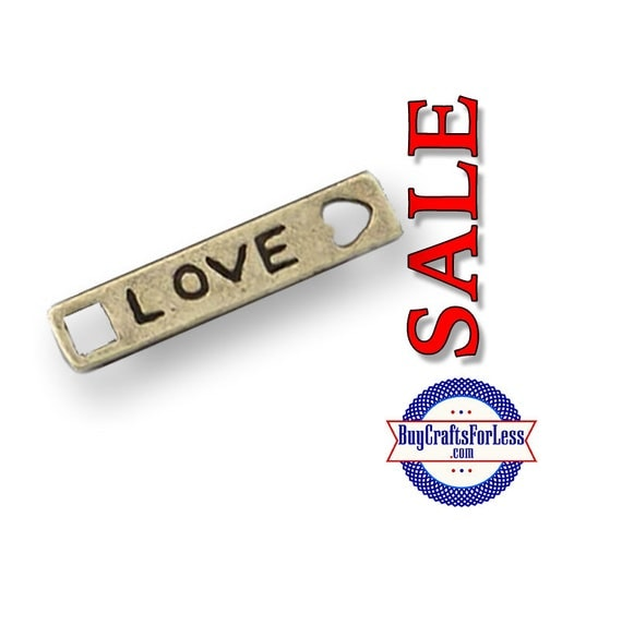 """Charms, *SALE*, """"Love"""", Bronze, 6 pcs  **99cent shipping-FREE with orders 10 dollars+ **"""