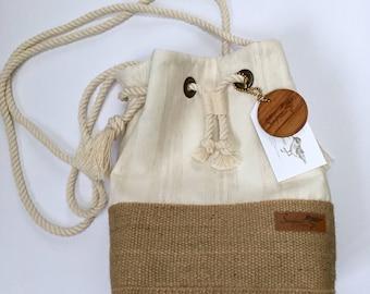 Festival Bucket Bag in Oatmeal Stripe