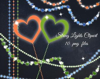 Sale 30% Soft string lights Clipart, pastel lights clip art, wedding string lights, hearts lights clipart, orange hearts clip art