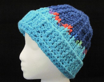 turquoise and navy winter hat