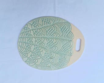 7-inch small pottery cheese board - lace impressed, green
