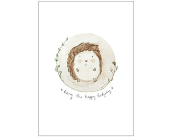 Harry the Happy Hedgehog 2 print, various sizes
