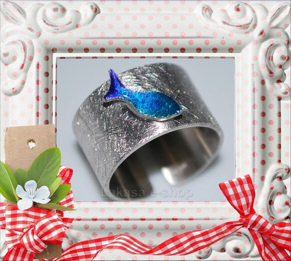 Chevalier Ring Enamel Fish Silver 925 White Gold-plated Jewelry