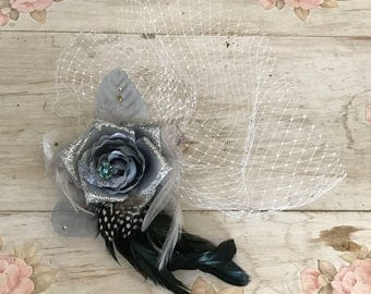 Silver Flower & Feather Clip