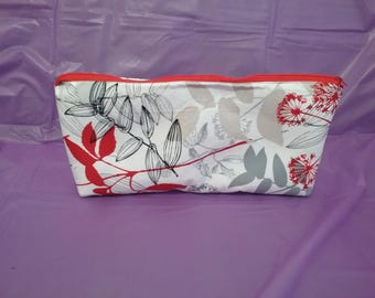 Red, Gray, Black, White, & Beige Leaves and Flower Clutch