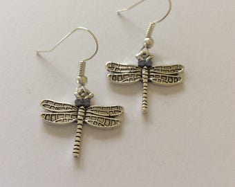 Dragonfly earrings / dragonfly jewellery / animal earrings / animal jewellery / animal lover gift