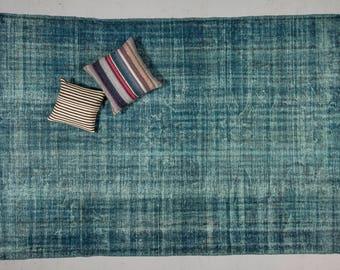 "6'9"" x 10'1"" NAVY BLUE VINTAGE Overdyed Turkish Oushak Rug - 1950s Anatolian Handwoven Decorative Rug, Urban Rug, Bohemian Rug , Industrial"