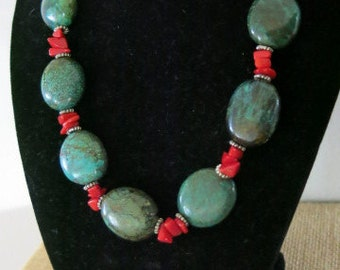 Chunky turquoise and coral statement necklace