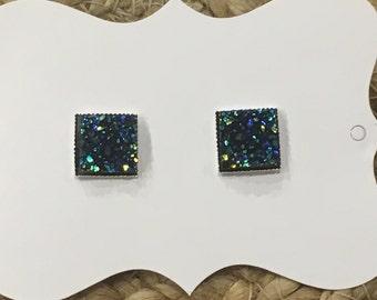 12mm square faux druzy stud earrings