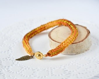 Knitted autumn bracelet with yellow glass beads Crocheted boho jewelry Brown and yellow knitted bracelet One string friendship bracelet
