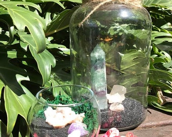 Large Jar terrarium with flourite, strawberry quartz and smokey quartz