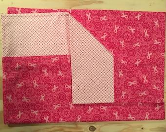 Pink Ribbon Flannel Pillowcase