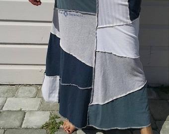 Medium Women's Maxi Skirt Blue Moon Upcycled T-shirt and Men's Button Down Boho Beach Casual Clothing