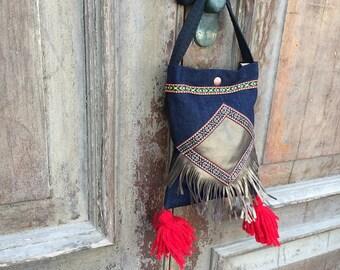 boho festival bag / boho with tassel bag / fringe bag / gypsy festival bag/ bohemian hip bag/ cross body boho bag/ boho festival bag