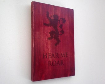 "Game of thrones House Lannister Wood Sign. ""Hear me Roar"" and Lion Sigil. Red Wall Art. Gift for Game of Thrones fans."