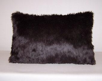 Dark Brown Faux Fur Lumbar Pillow 13x20