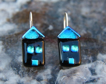 Murano glass earrings with 925 Silver hook mounted dichroic effects, hypoallergenic