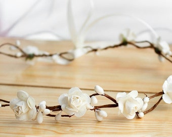 White Flower Crown Headband Flower girl headband Flower girl flower crown Flower Wreath White Flower Headband First Communion Headband
