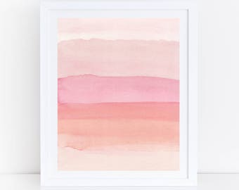 Pink Watercolor Print, Pink Abstract Art, Pink Abstract Printable Art, Blush Wall Art, Blush Prints, Blush Printable Art, Watercolor Stripes