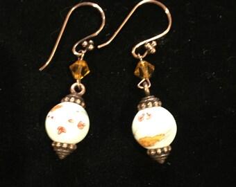 Lampwork and copper dangle earrings