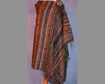 Elegant Wool Nepalese Wrap Shawl - rainbow stripes