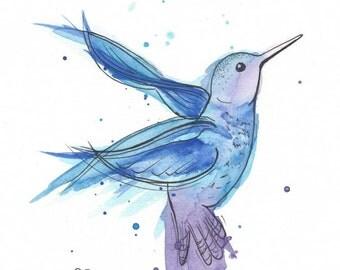 """Hummingbird 8x10"""" Matted Giclée Print"""