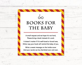 Harry Potter Gryffindor Baby Shower Book Instead of a Card Insert, Harry Potter Book Insert, Instant Download