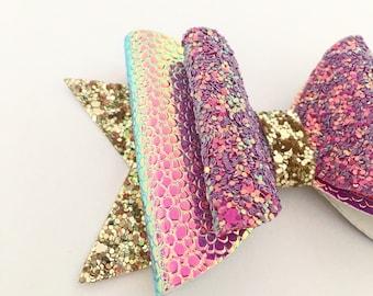 Mermaid Bow | Hair Bow | Glitter Hair Bow | Girls Hair Bow | Mermid Hair Clip