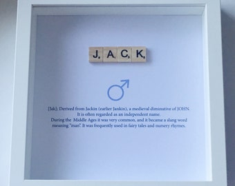 Personalised name meaning scrabble frame new baby christening baptism nursery
